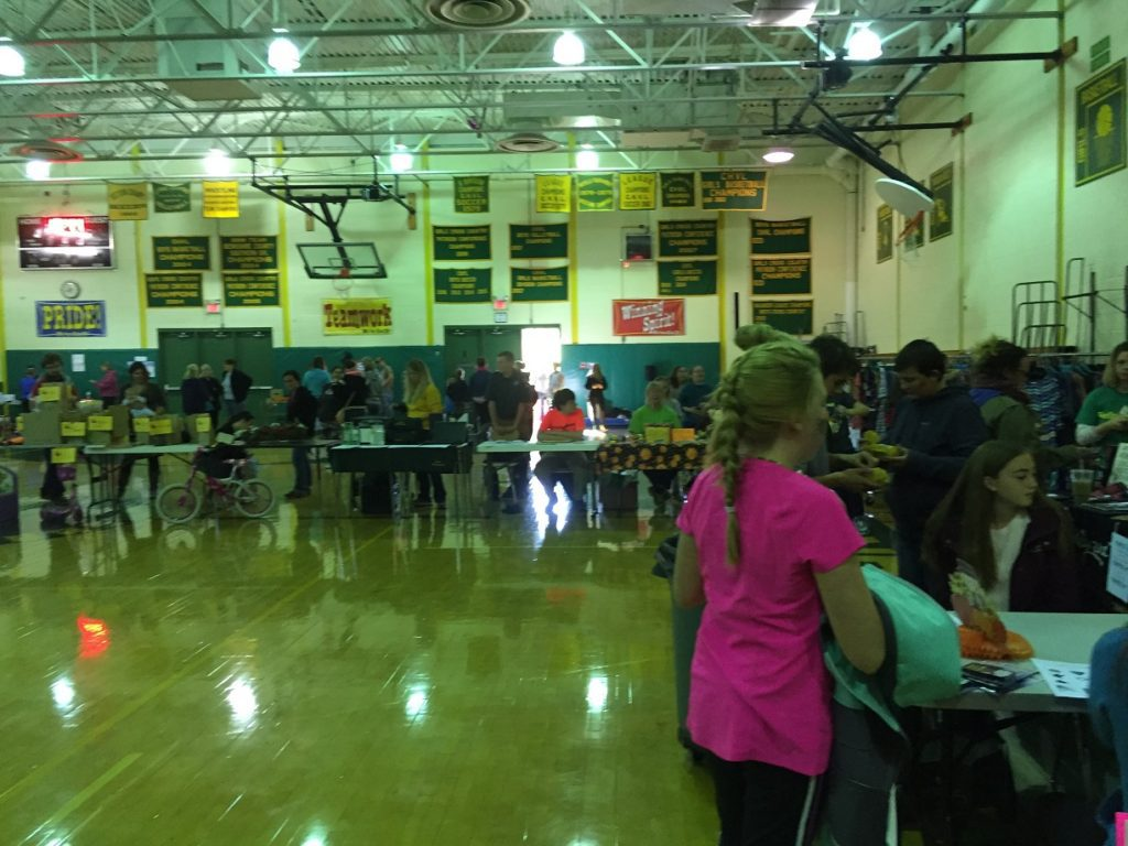 Game and vendor tables in the gym
