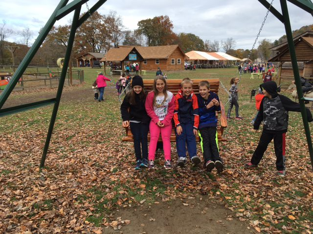 Students on a big swing