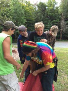 Students do team-building activities