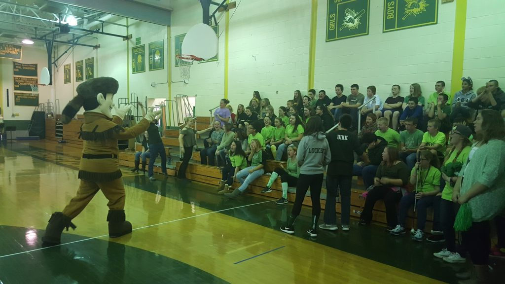 The mascot gets the crowd excited