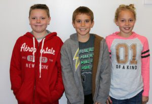 5th graders Guilianna Zinna, Jacob Maxon, and Jason Jaros