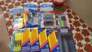 Donations, pencils, crayons