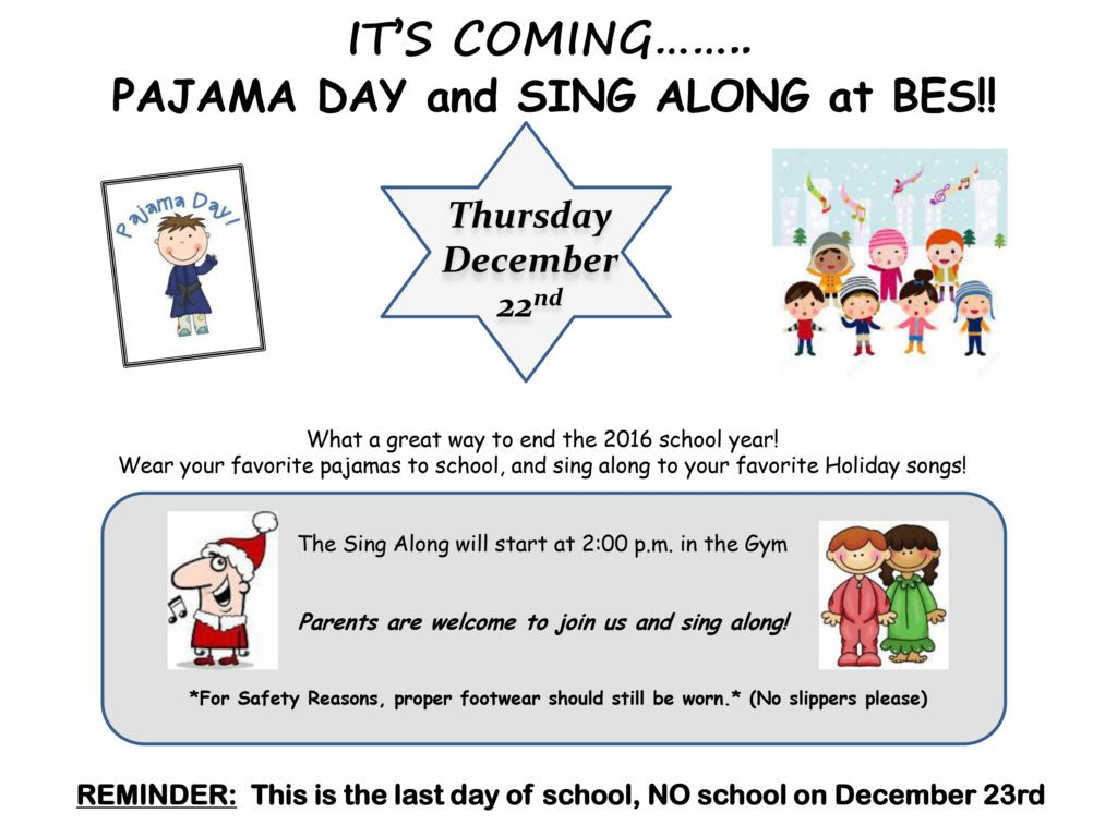 Photo of PJ Day flyer with kids on flyer