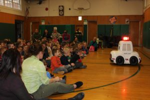 Otto the Auto talking to students