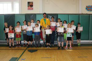 PE Students holding their certificates