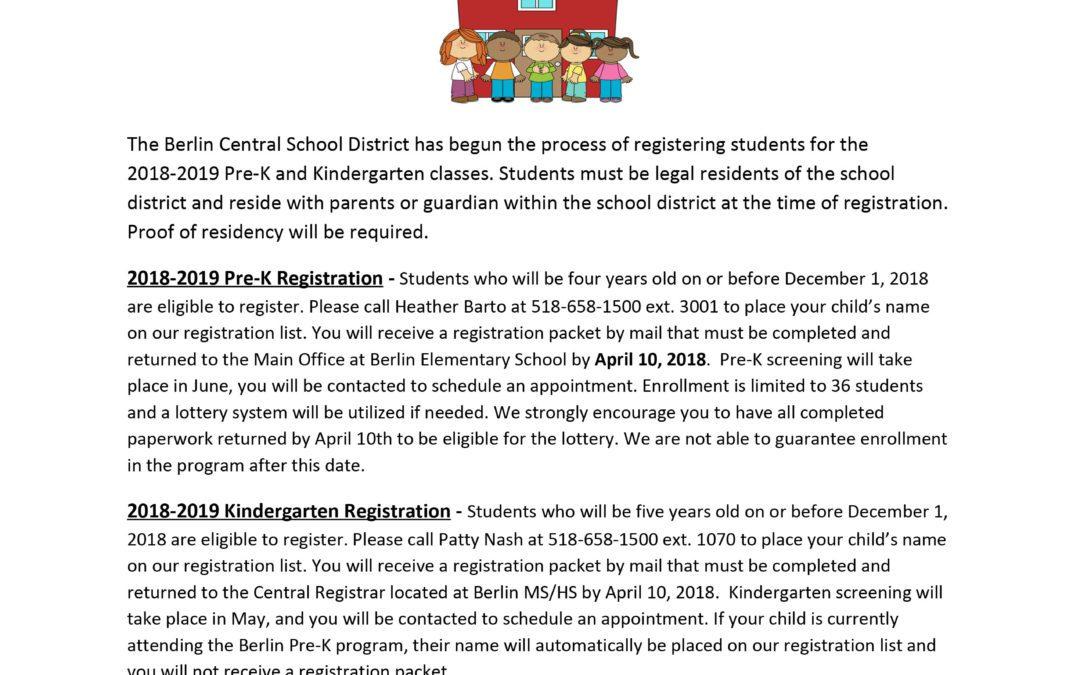 Berlin CSD Announces 2018-2019 Pre-K & Kindergarten Registration