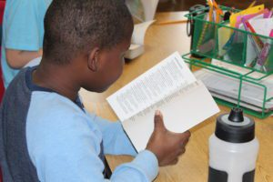 Student reading dictionary