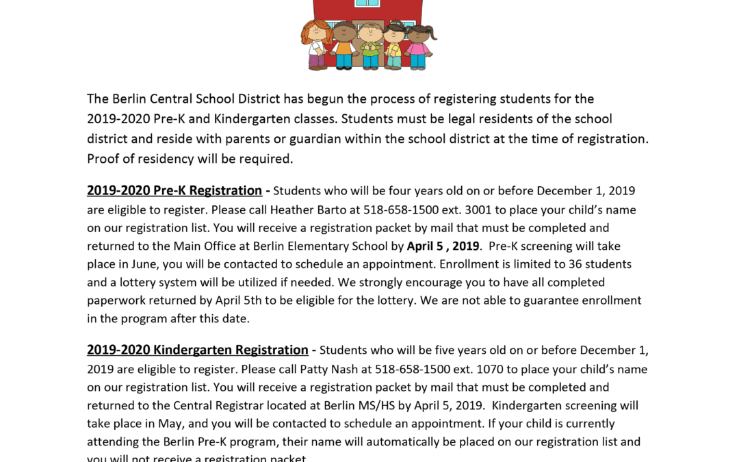 Berlin CSD Announces 2019-2020 Pre-K & Kindergarten Registration