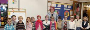 Kindergarten students dressed as 100 year olds