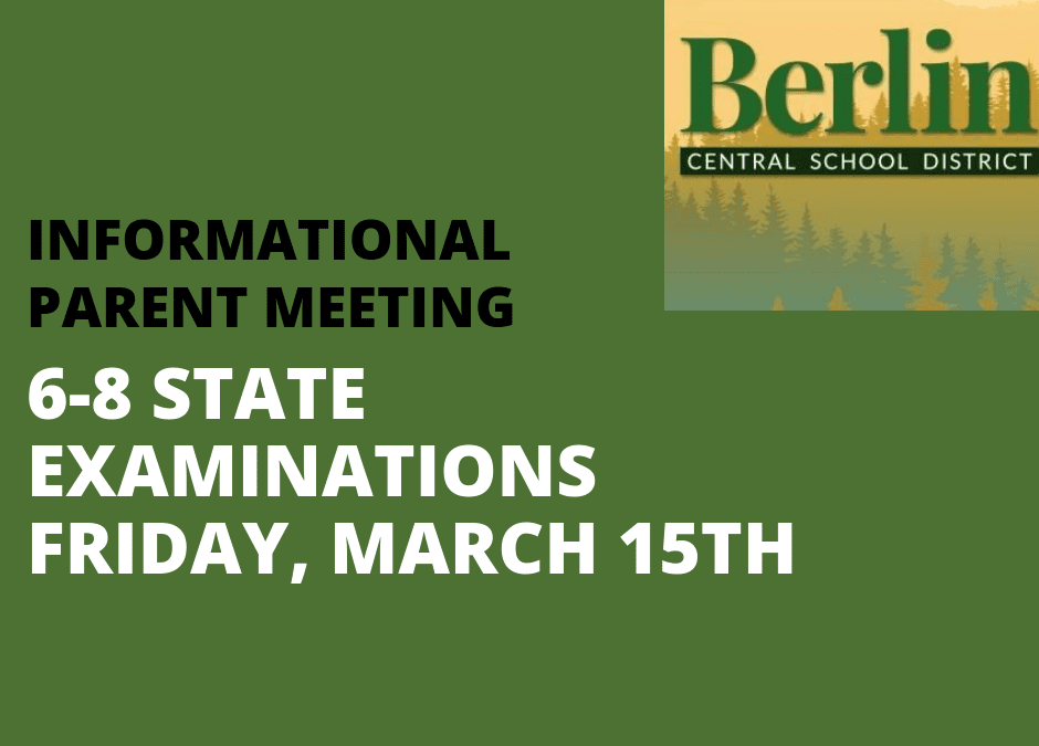Info meeting for parents about Gr. 6-8 State Exams