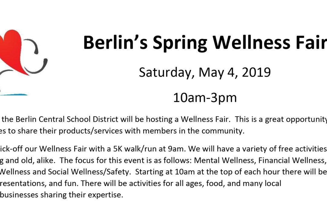 Interested in being an exhibitor at the Spring Wellness Fair