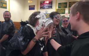 Teacher getting smashed with pie