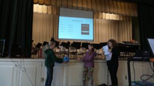 Lilly Meyers, Taylor Morse and Asia Mabee performed a skit for students during BES's April assembly. The skit was about how to use self control on the playground.