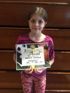 Gabriella Colangione (4th) was the recipient of this month's Sportsmanship Award for Intramurals.