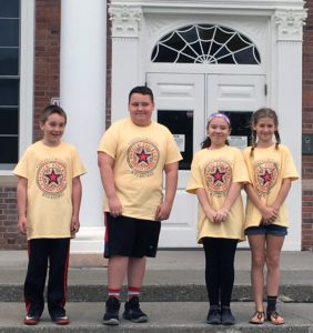 Students in PE Leadership tshirts