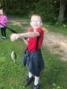 student caught fish