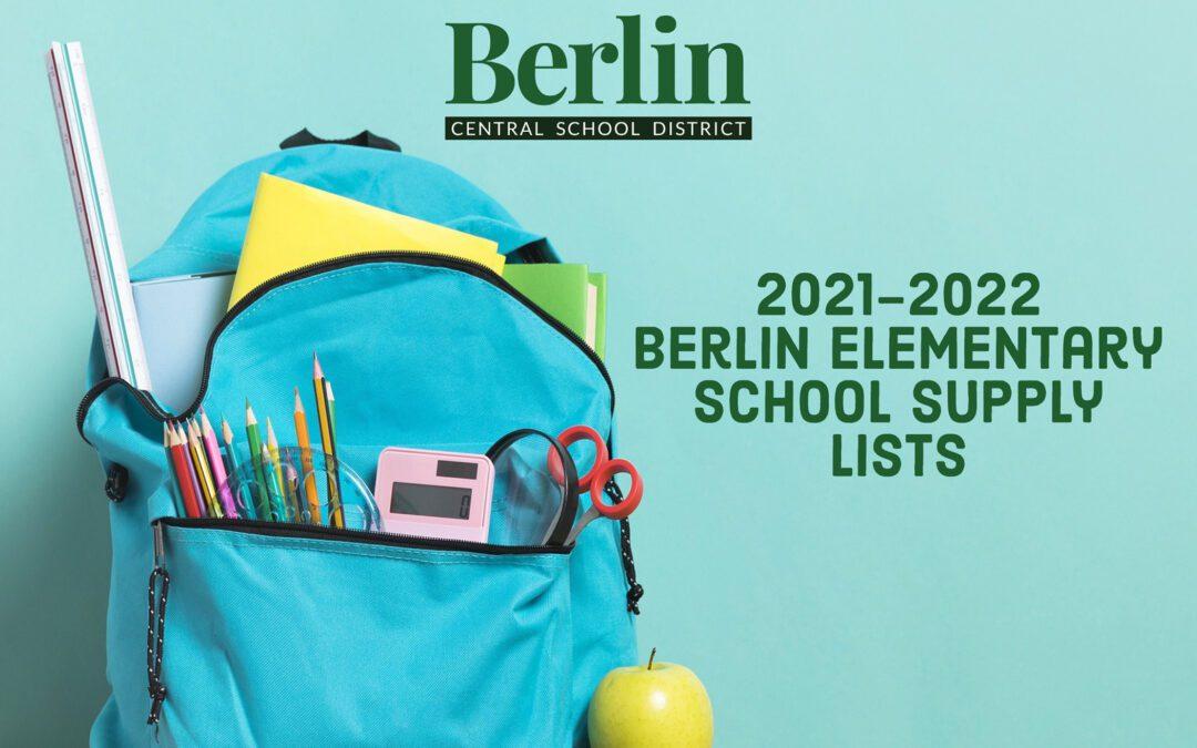 Berlin Elementary School 2021-22 Supply List