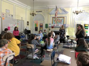 6th graders visit 5th graders at school