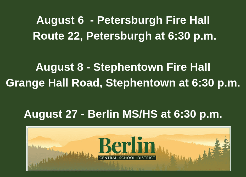 Berlin CSD to Host Community Meetings on Change to MS/HS Start time & Transportation/Bus Run Changes
