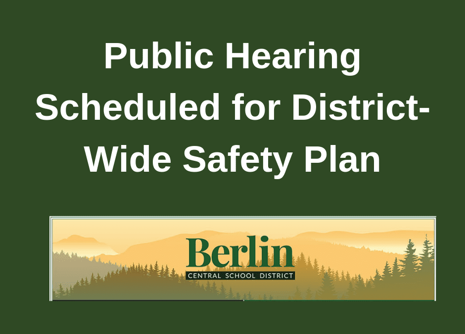 Public Hearing Scheduled for District-Wide Safety Plan