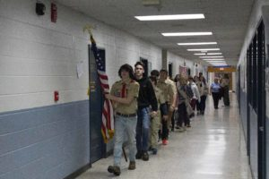 students walking to assembly