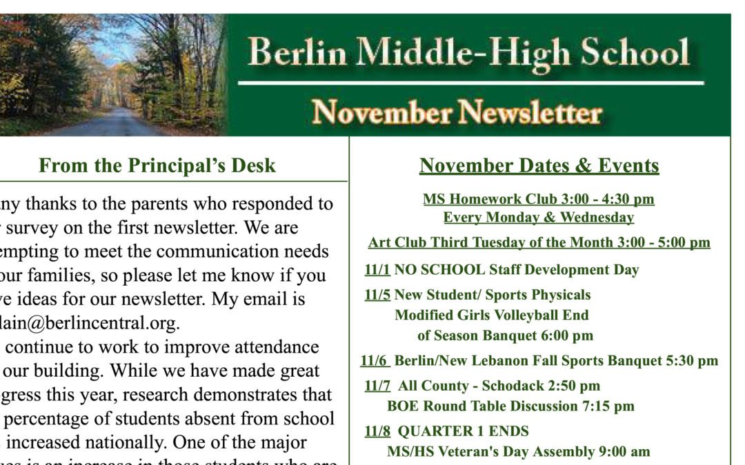 November Newsletter from the Principal of the Ms/Hs