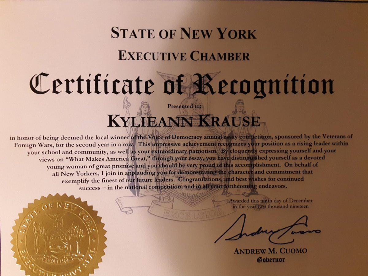 photo of certification NYS Governor Andrew Cuomo
