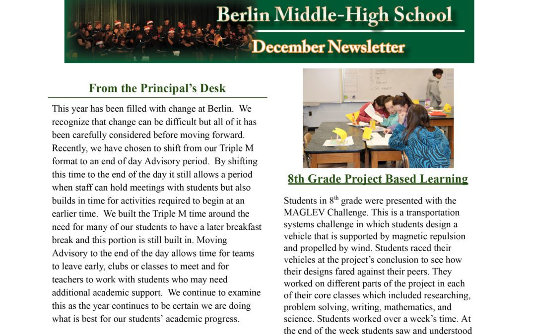 December newsletter from the Principal of the Ms/Hs