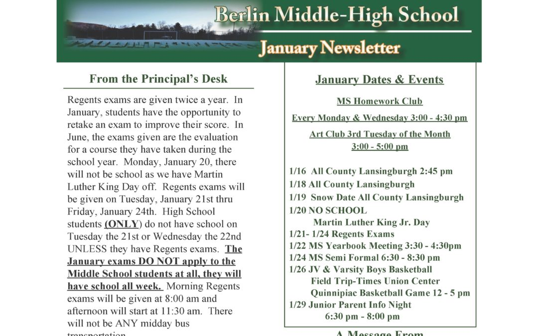 January newsletter from the principal of the MS/HS