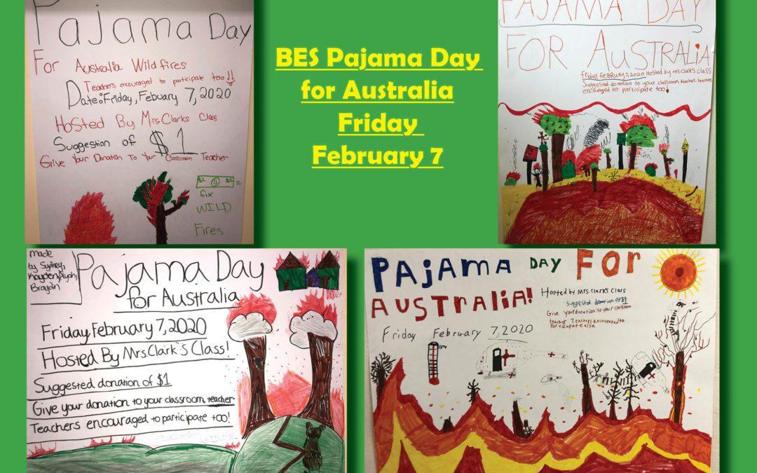 BES Pajama Day for Australia on 2/7