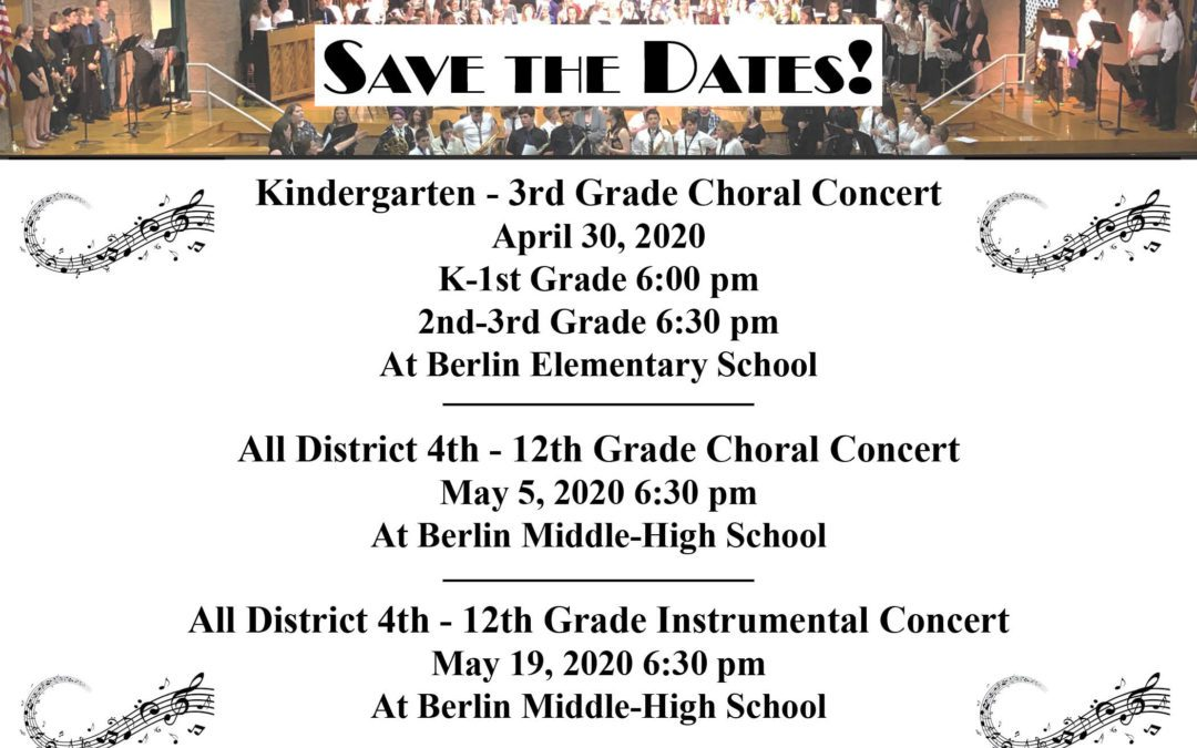 BCSD Spring Concerts Dates
