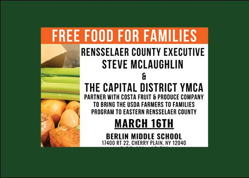 BMHS Will Be an Eastern Rensselaer County Free Food Distribution Site on March 16