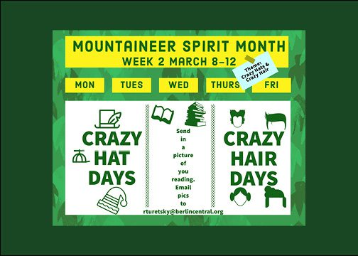 Mountaineer Spirit Week 2 Calendar and This Week's Mountaineers Pet Album