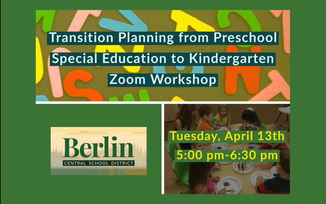 Transitioning from Pre-K Special Education to Kindergarten Zoom Workshop