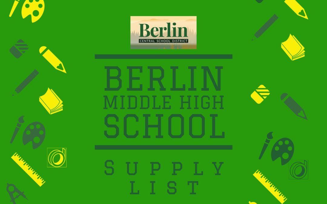 BMHS 2021-2022 School Supply List