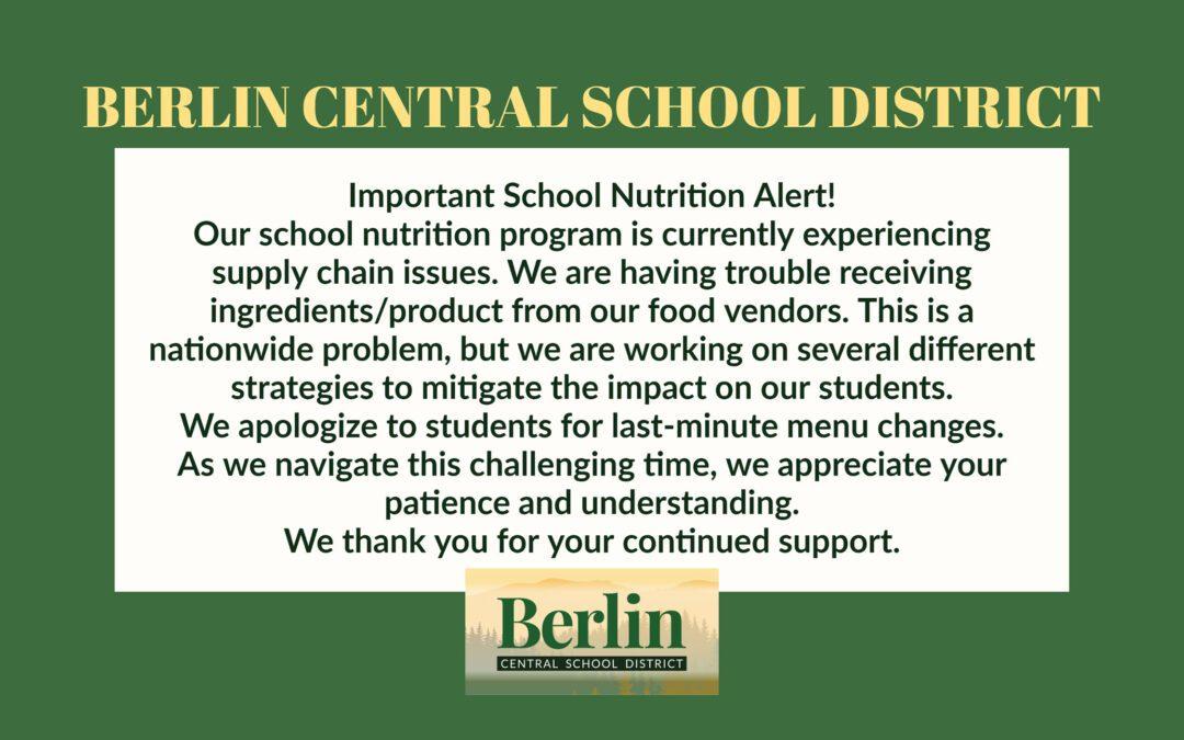 November Menu & Food Service Update